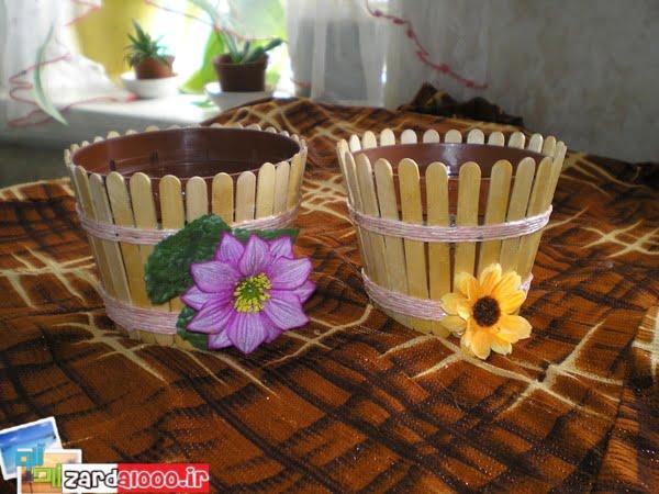جا گلدانی چوبی