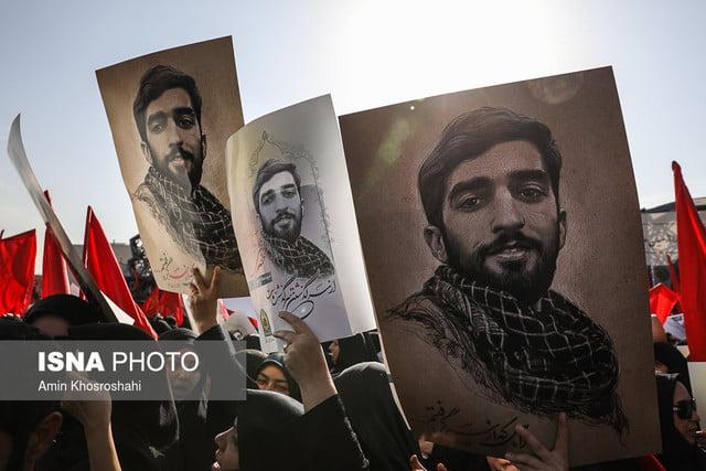 مراسم تشییع پیکر شهید حججی برگزار شد/مردم ایران قاتلان اصلی شهید حججی را فراموش نخواهند کرد