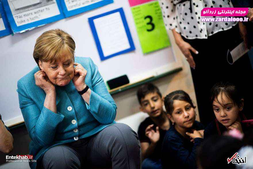 آنگلا مرکل صدراعظم آلمان در یک مهدکودک در بیروت لبنان
