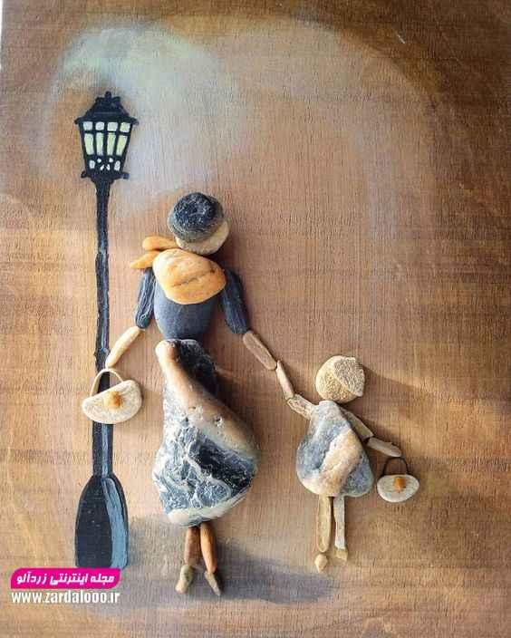تابلوی بسیار زیبا و ساده ساخته شده از تکه های سنگ برای تزئین خانه شما