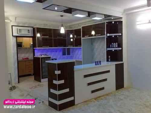 عکس مدل جدید آرک آشپزخانه مناسب برای اجرا با گچ،کناف و ام دی اف