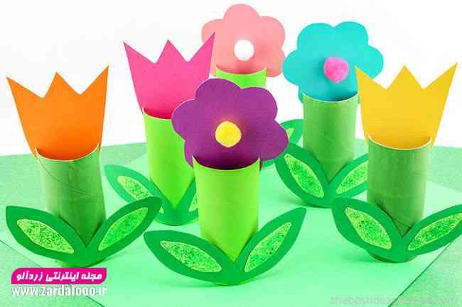 ایده ساخت گل های زیبا با کاغذ و مقوا برای کودکان