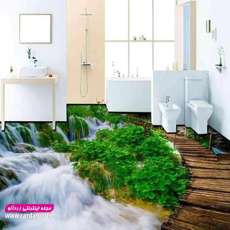 اجرای طرح زیبا کاشی سه بعدی در سرویس حمام و دستشویی