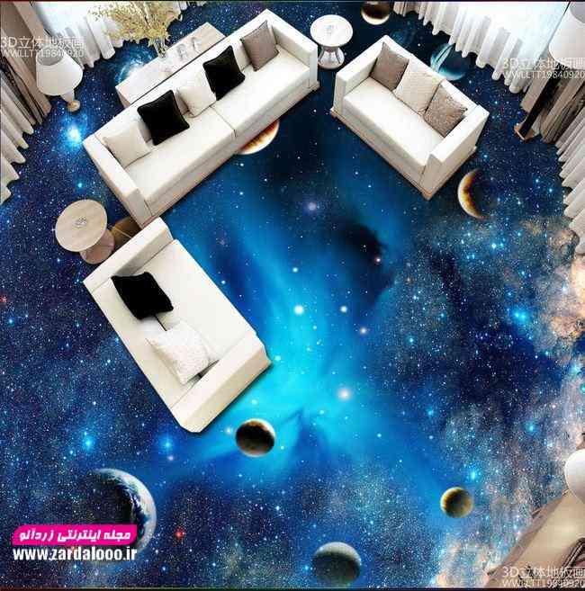 اجرای سرامیک سه بعدی با طرح کهکشان در نشیمن