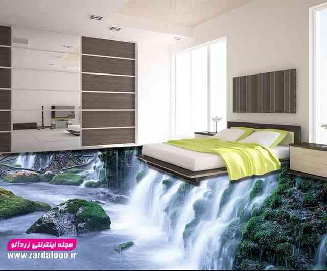 اجرای کاشی سه بعدی با طرح آبشار در اتاق خواب