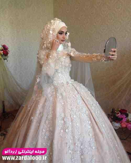 مدل لباس عروس با حجاب پوشیده