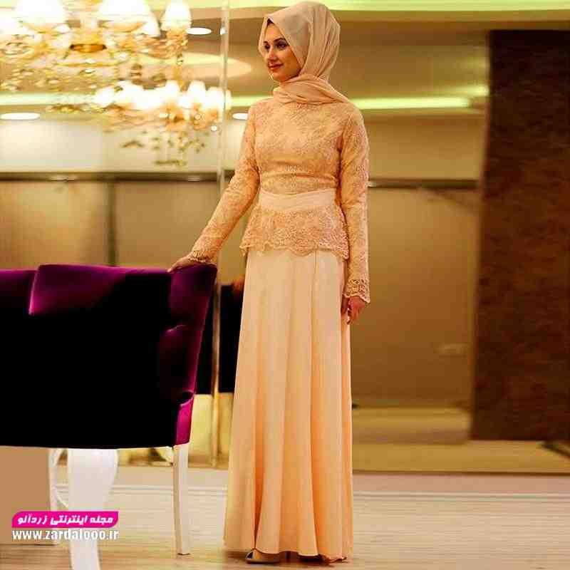 مدل لباس مجلسی با حجاب گیپوری شیک