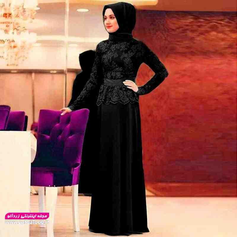 مدل لباس مجلسی مشکی جدید شیک با حجاب و پوشیده
