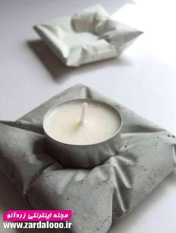 دکوری جا شمع شیک با استفاده از سیمان