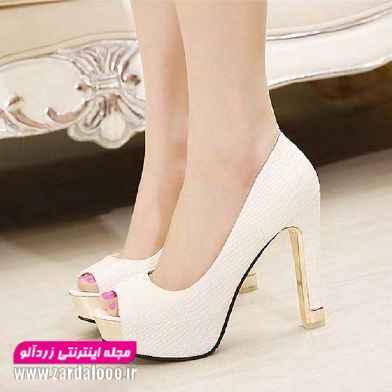 کفش های مجلسی دخترانه - عکس کفش زنانه پاشنه بلند  - کفش عروس پاشنه بلند سفید