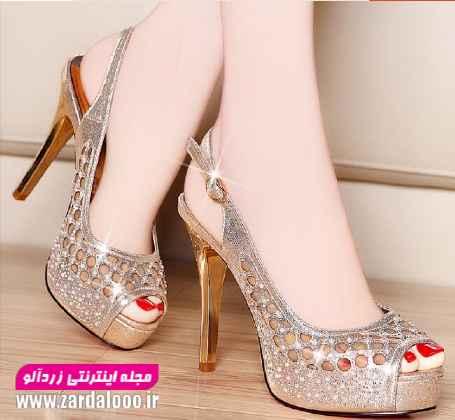 کفش پاشنه کوتاه دخترانه - مدل کفش دخترانه مجلسی - کفش مجلسی دخترانه شیک
