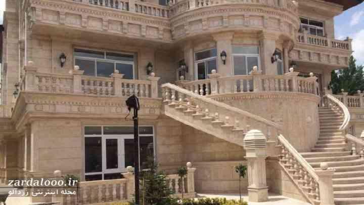 نمای ساختمان دوبلکس ایرانی - نمای طرح سنگ - نمای مسکونی