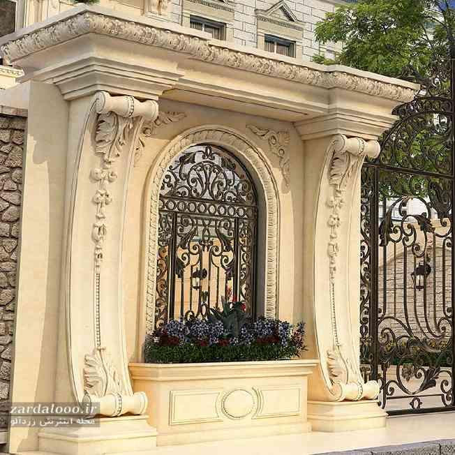 نمای سنگ رومی ساختمان - نمای ساختمان شیک - طرح نمای ساختمان ویلایی